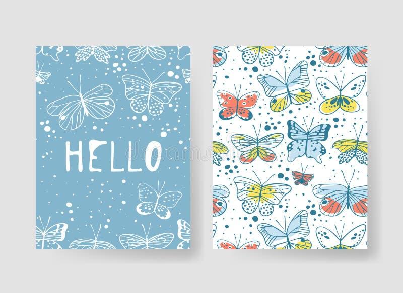 Sistema de las plantillas para las tarjetas de verano El vector dibujado mano modela los folletos con la mariposa ilustración del vector
