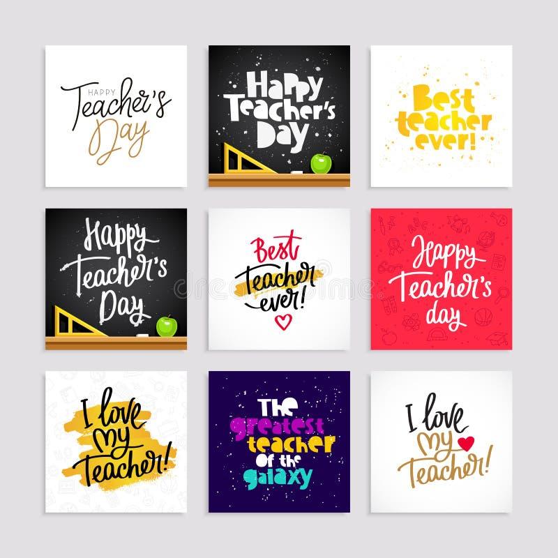 Sistema de las postales para el día del ` s del profesor stock de ilustración