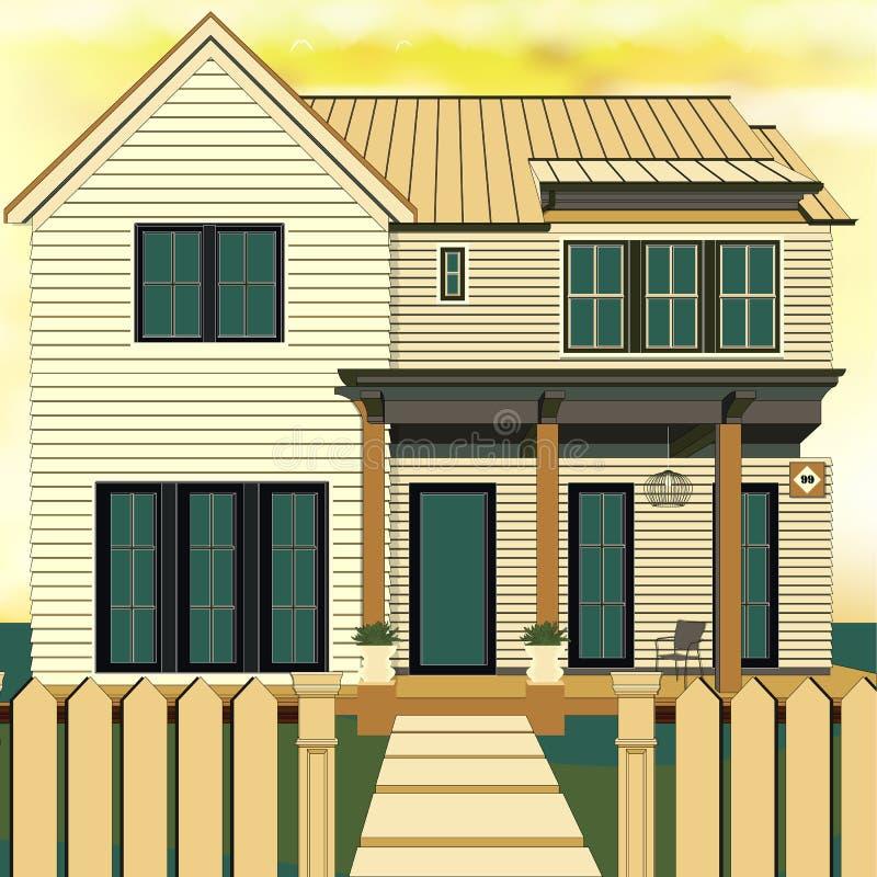 Sistema de las propiedades inmobiliarias con el ejemplo del vector de las casas de la venta Sistema casero ideal de la familia Ca ilustración del vector