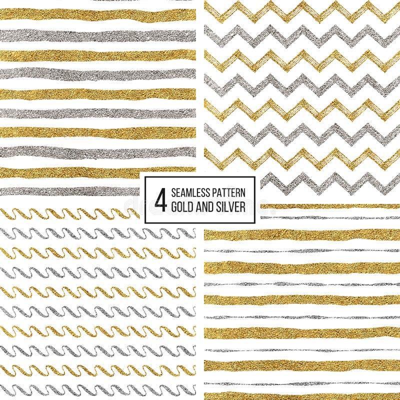 Sistema de las rayas inconsútiles del oro y de la plata del modelo, galón del zigzag, raya ondulada libre illustration