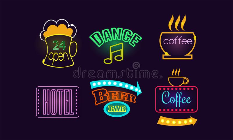 Sistema de las señales de neón brillantes para la barra de la cerveza, 24 tiendas abiertas, el café, el hotel y el club de baile  stock de ilustración