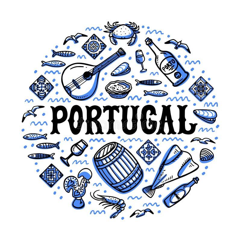 Sistema de las señales de Portugal Ejemplo Handdrawn del vector del estilo del bosquejo ilustración del vector