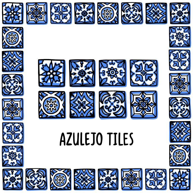 Sistema de las señales de Portugal Tejas portuguesas, azulejo Mosaico de Lisboa en el marco de tejas portuguesas, azulejo Bosquej stock de ilustración