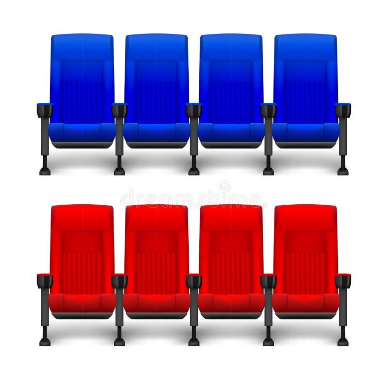 Sistema de las sillas cómodas realistas de la película para el teatro del cine Asientos rojos del cine y azules vacíos Ilustració ilustración del vector