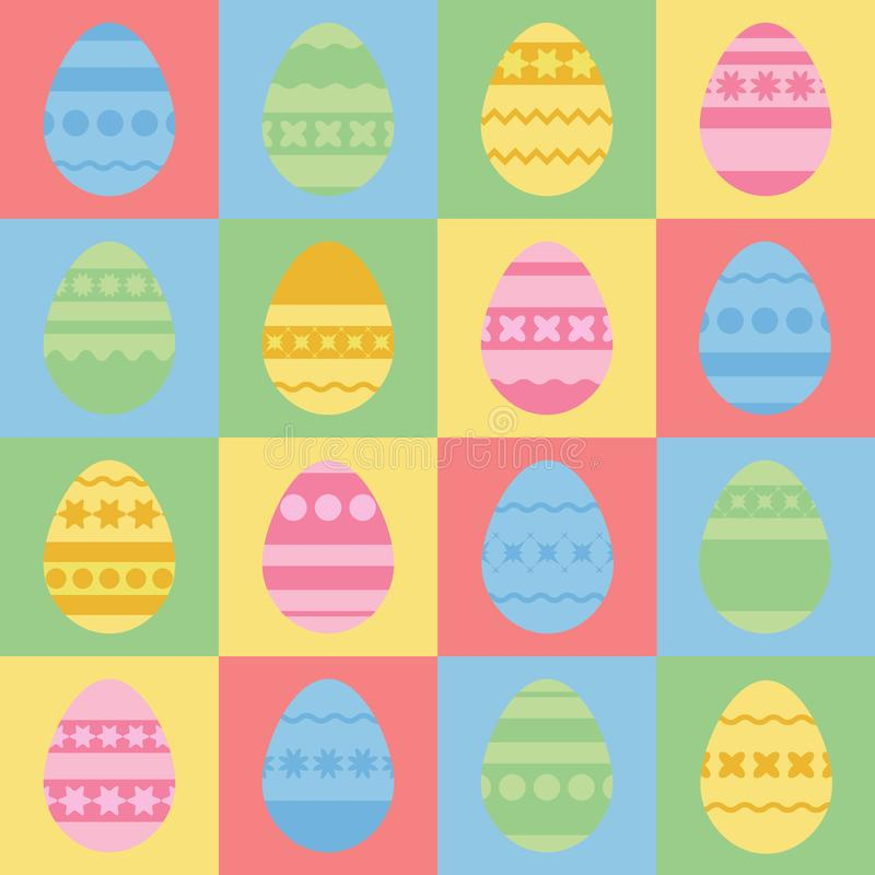 Sistema de las siluetas coloreadas de los huevos de Pascua aislados Con un modelo abstracto Ejemplo plano simple del vector Conve libre illustration