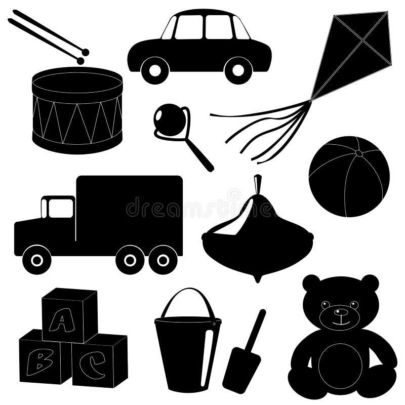 Sistema de las siluetas 1 de los juguetes stock de ilustración