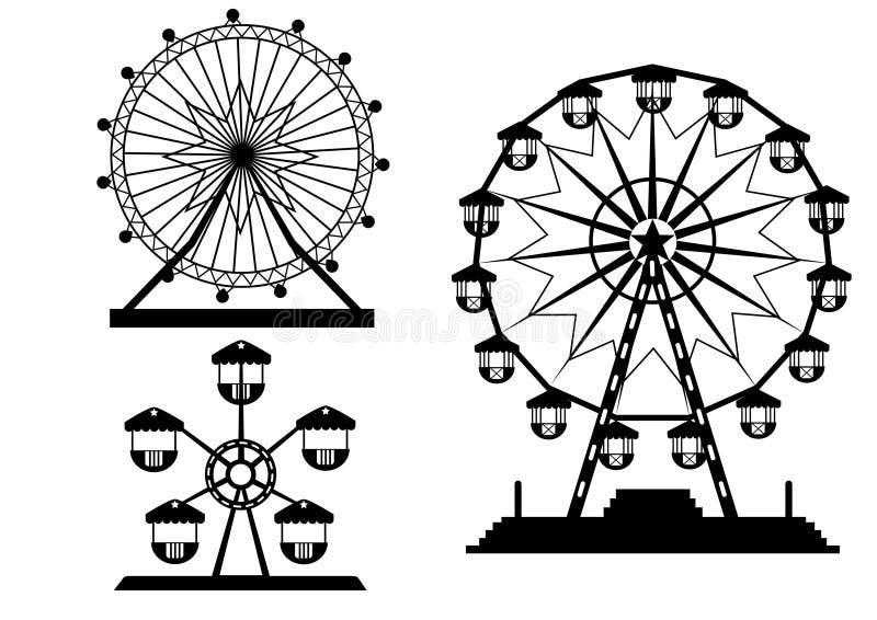 Sistema de las siluetas Ferris Wheel del parque de atracciones, ejemplos ilustración del vector