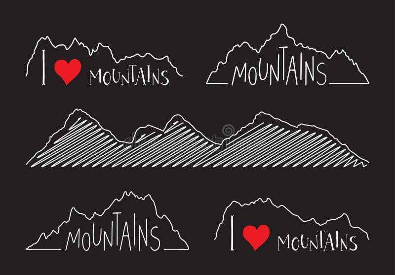 Sistema de las siluetas lineares de las montañas Amo concepto de las montañas ilustración del vector