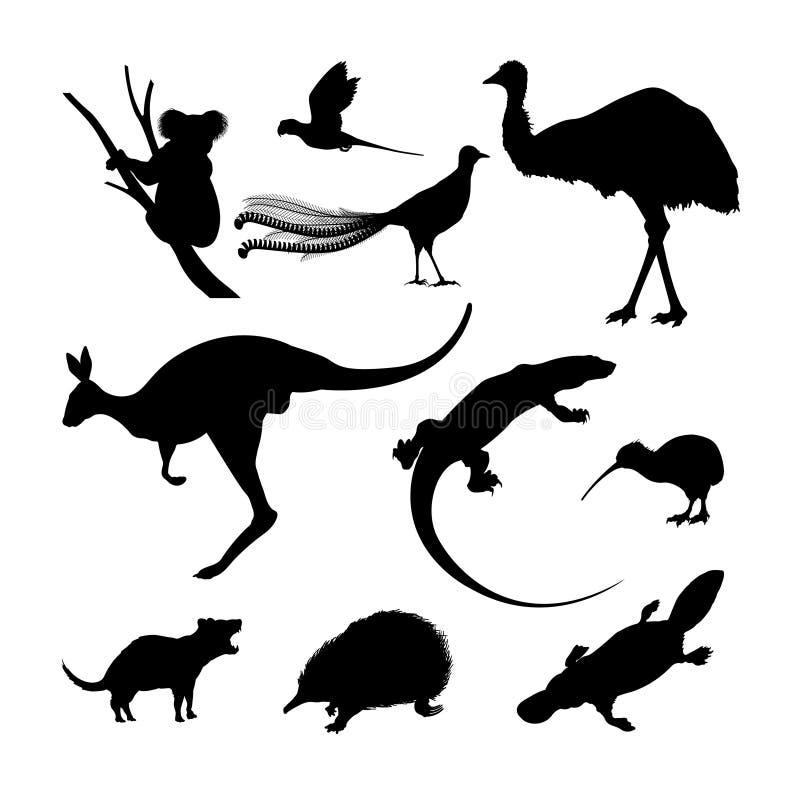 Sistema de las siluetas negras de animales australianos Canguro, koala y emú en un fondo blanco stock de ilustración