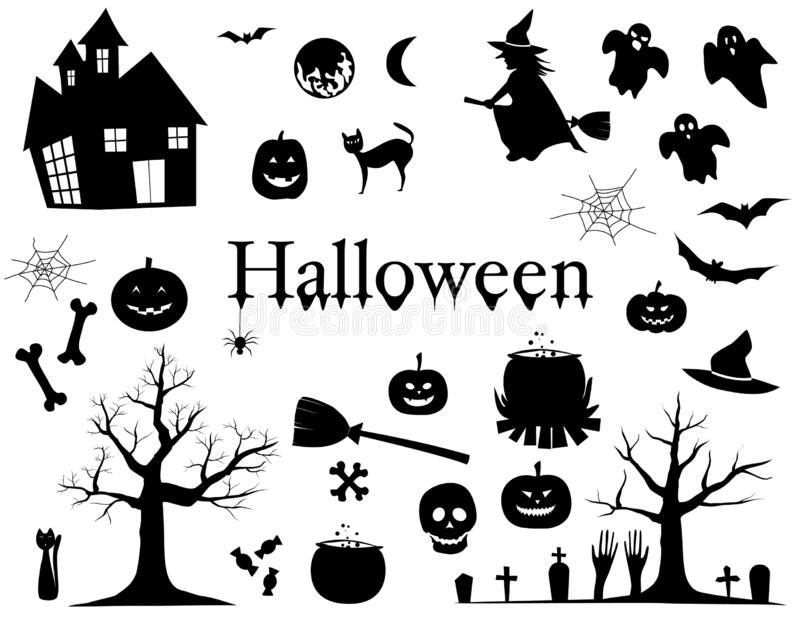 Sistema de las siluetas para el ejemplo del vector de los elementos del diseño de Halloween en el fondo blanco ilustración del vector