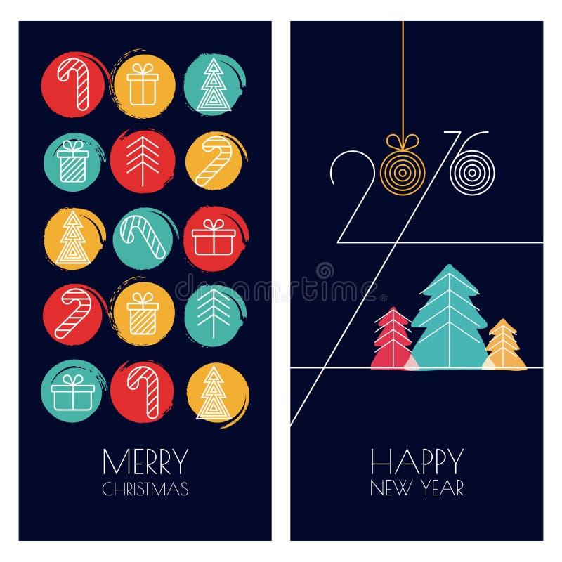 Sistema de las tarjetas de felicitación dibujadas mano universal del vector para la Navidad ilustración del vector