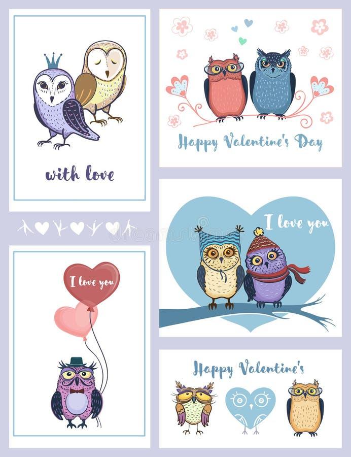 Sistema de las tarjetas de felicitación lindas para el día del ` s de la tarjeta del día de San Valentín ilustración del vector