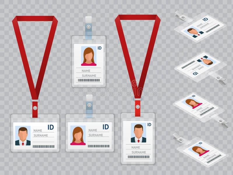 Sistema de las tarjetas en blanco blancas de la identificación del plástico de la identificación de los empleados con el corchete ilustración del vector
