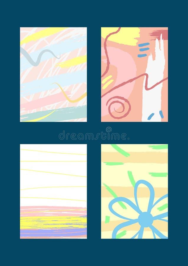 Sistema de las tarjetas de moda abstractas verticales, fondos, cubiertas, invitaciones, aviadores libre illustration