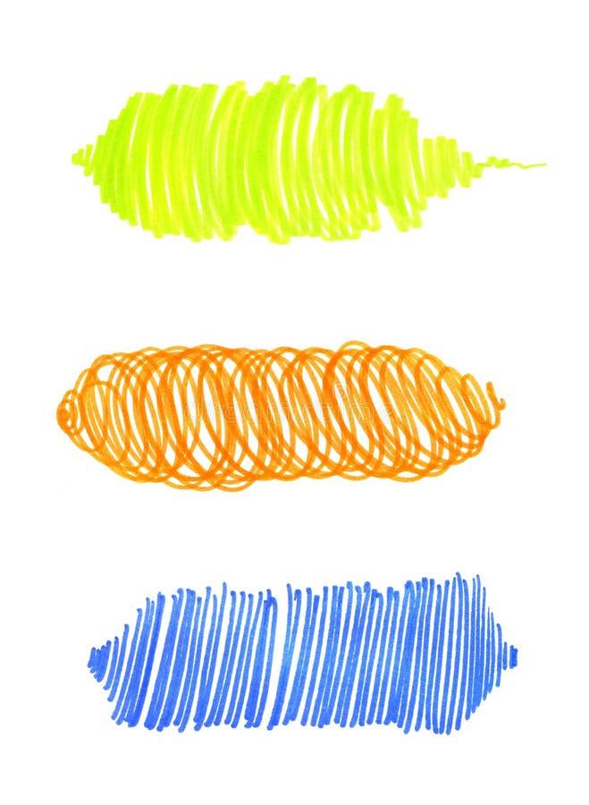 Sistema de las texturas brillantes abstractas del dibujo de la mano para el diseño ilustración del vector