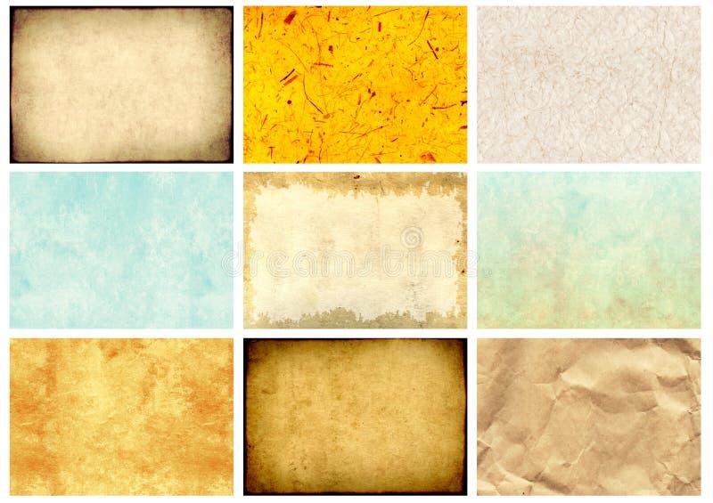 Sistema de las texturas de papel fotografía de archivo