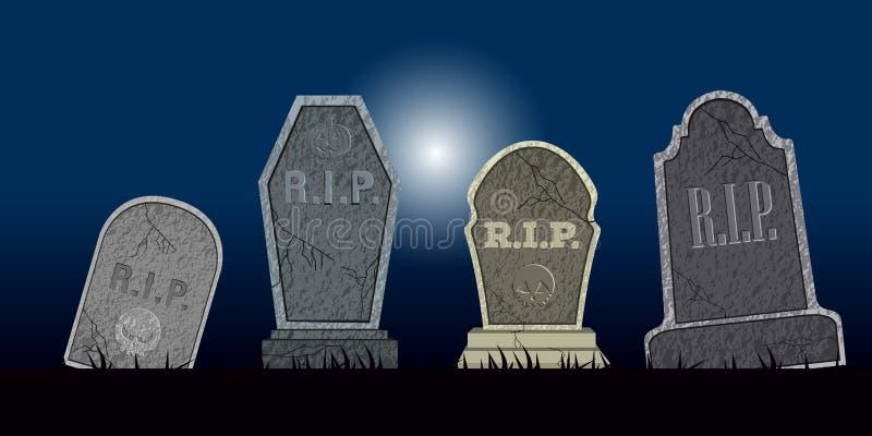 Sistema de las tumbas de Halloween stock de ilustración