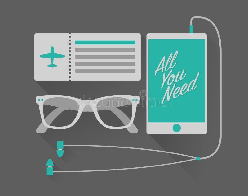 Sistema de las vacaciones del vector del teléfono móvil con los auriculares, gafas de sol, stock de ilustración