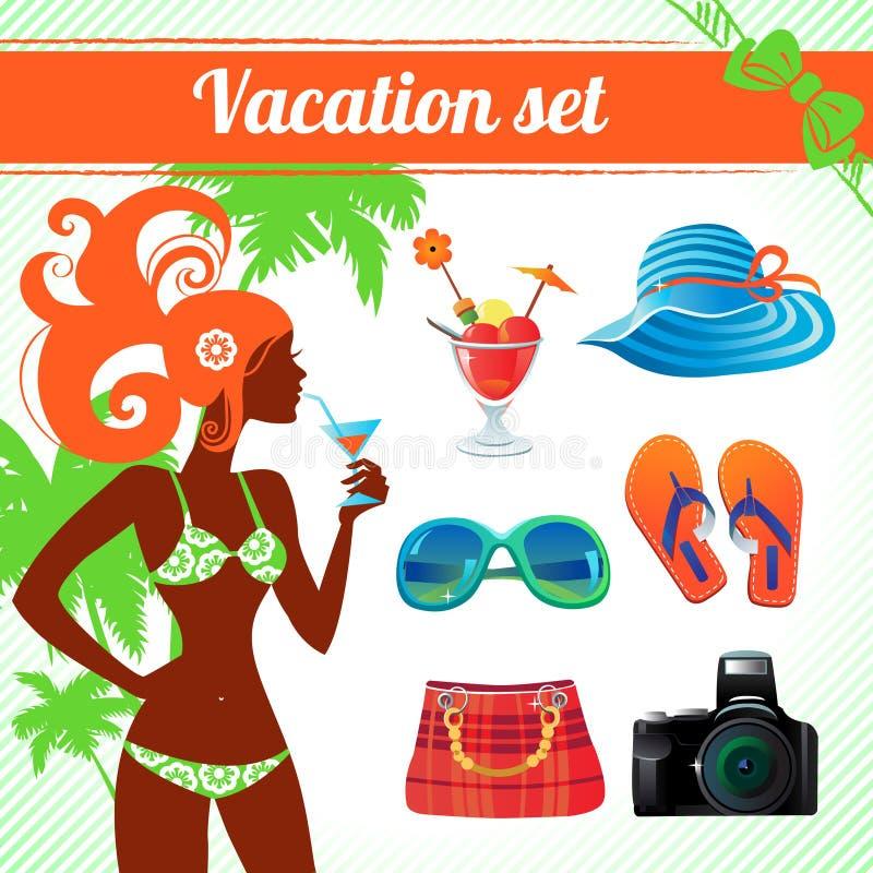 Sistema de las vacaciones y del icono del viaje stock de ilustración