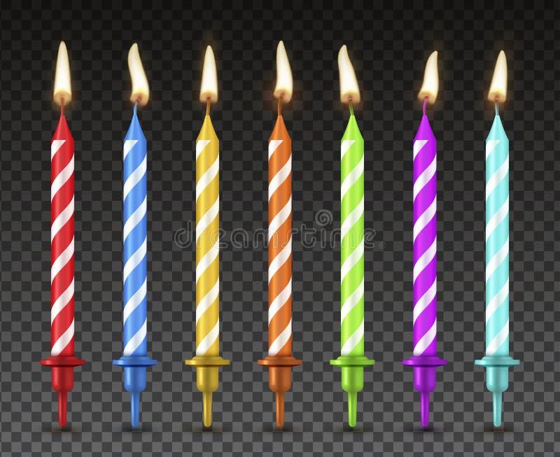 Sistema de las velas de la torta, decoración realista del día de fiesta del estilo ilustración del vector