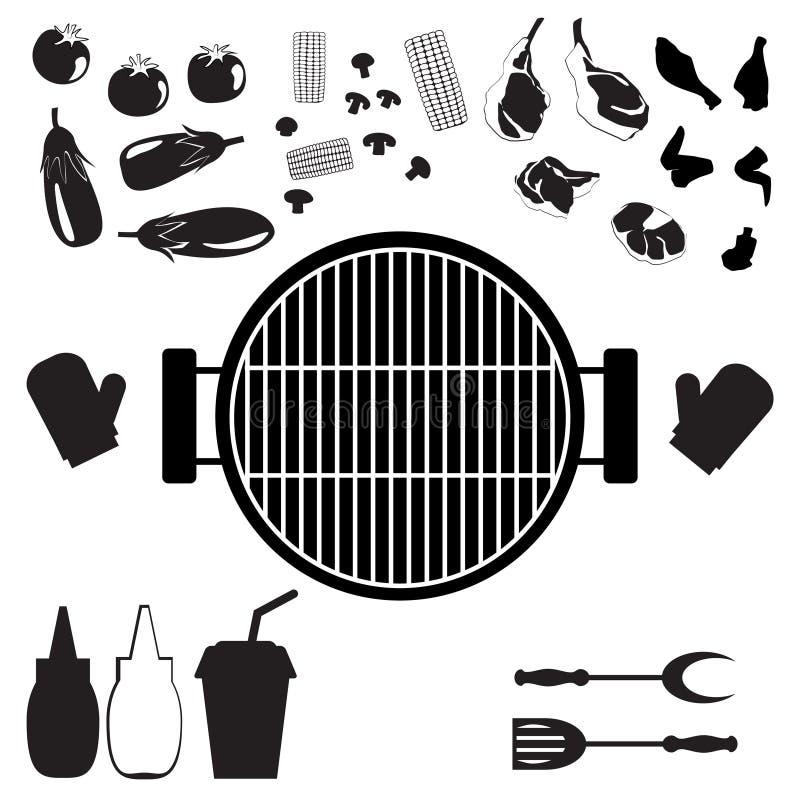 Sistema de las verduras fritas para la parrilla stock de ilustración