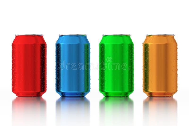 Sistema de latas de aluminio en blanco multicoloras con descensos del agua 3d arrancan libre illustration