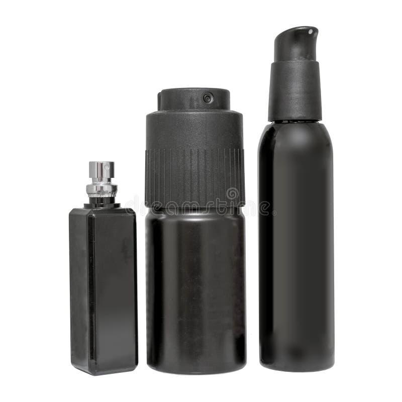Sistema de latas de espray negras de aerosol fotos de archivo libres de regalías