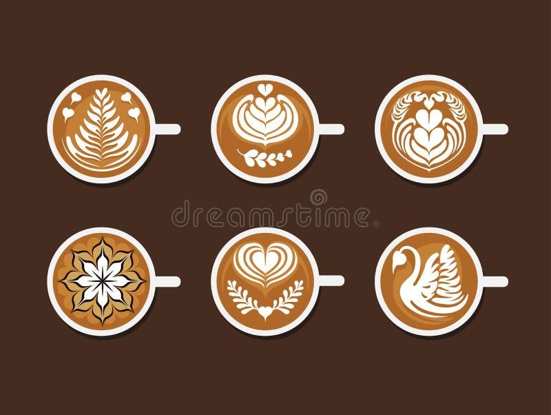 Sistema de Latte Art White Cup ilustración del vector
