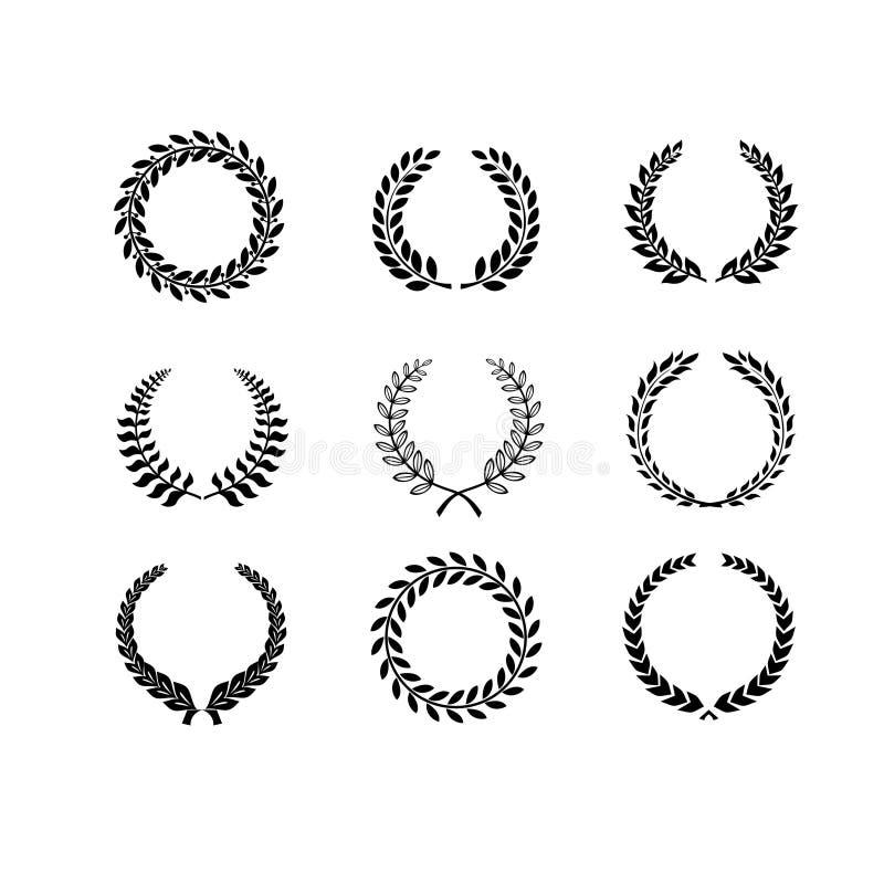 Sistema de laurel blanco y negro de la circular de la silueta stock de ilustración