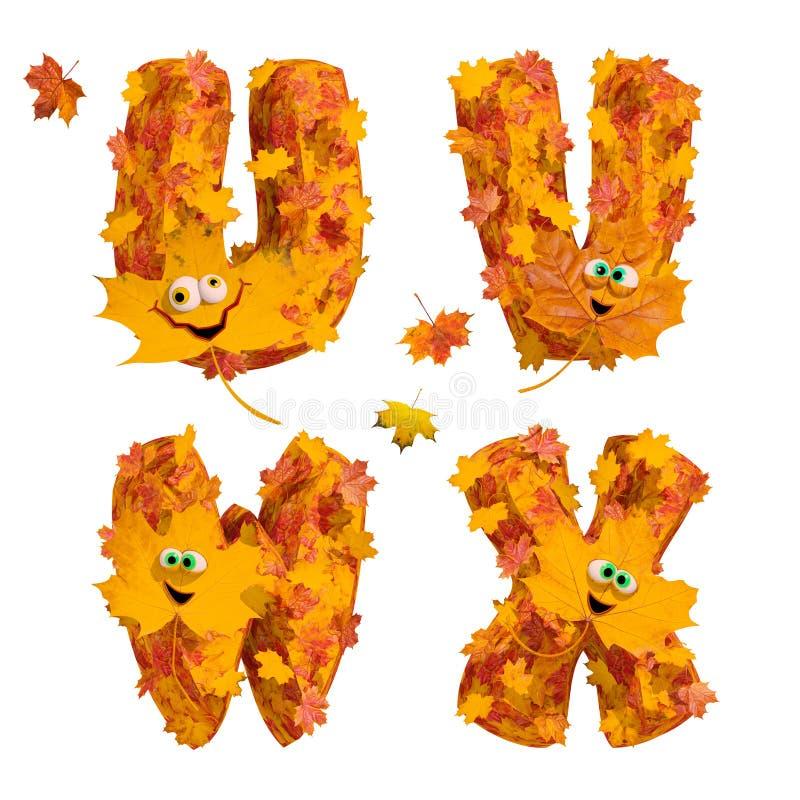 Sistema de letras animadas enormes del alfabeto del otoño: U, V, W, X libre illustration