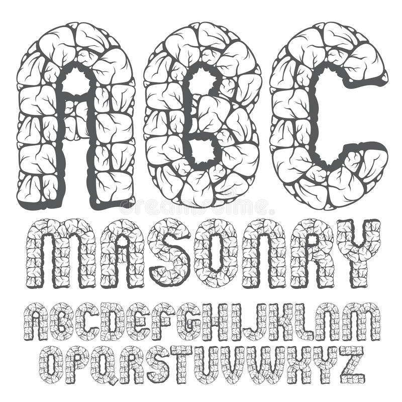 Sistema de letras capitales del alfabeto inglés del viejo vector de moda, ABC i libre illustration