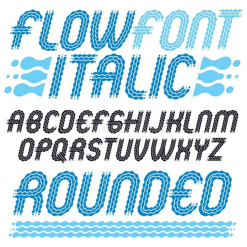 Sistema de letras capitales del alfabeto ingl?s del vector de moda del estallido aisladas El tipo retro redondeado fuente, escrit ilustración del vector