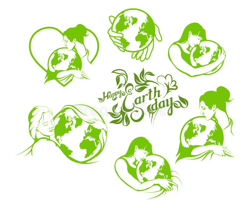 Sistema de letras de Día de la Tierra con una mujer hermosa ilustración del vector