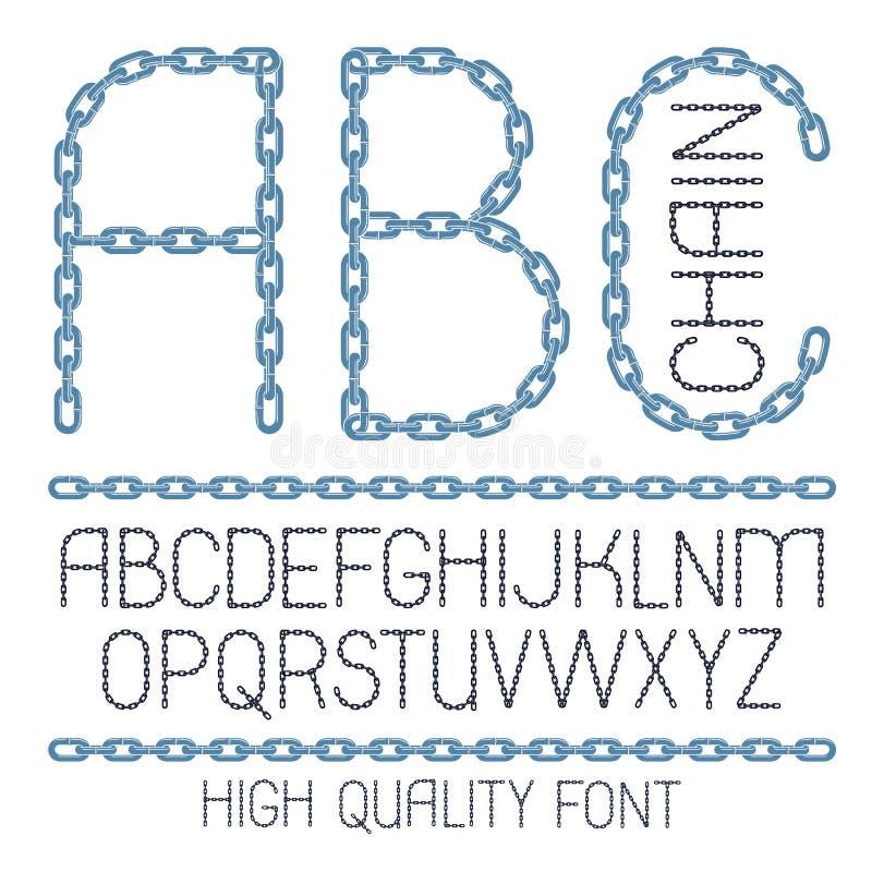 Sistema de letras del alfabeto inglés del vector, ABC aisladas Fuente creativa mayúscula hecha con la alambrada de acero ilustración del vector