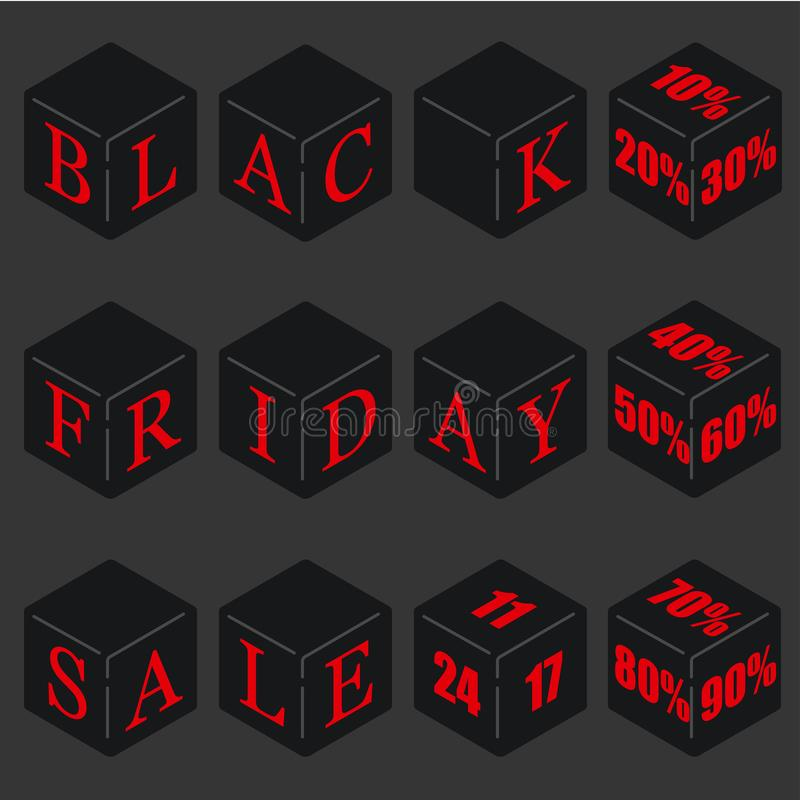 Sistema de letras en los cubos para los descuentos el viernes negro ilustración del vector