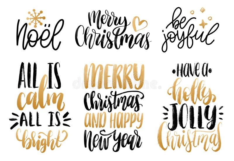 Sistema de letras de la mano del Año Nuevo Ejemplos caligráficos de la Navidad del vector Buenas fiestas conceptos de la tarjeta  libre illustration