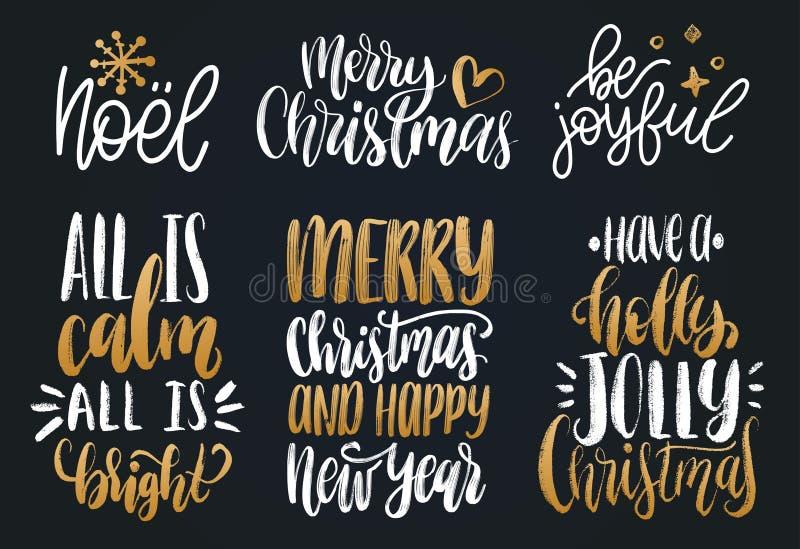 Sistema de letras de la mano del Año Nuevo Ejemplos caligráficos de la Navidad del vector Buenas fiestas conceptos de la tarjeta  ilustración del vector