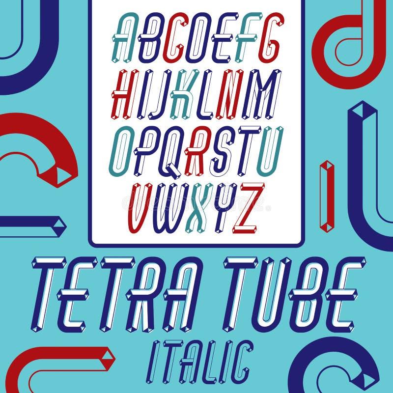 Sistema de letras mayúsculas del alfabeto del vector fresco del vintage, aislador del ABC ilustración del vector