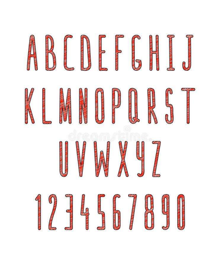Sistema de letras y de números, hecho a mano Fuente del bosquejo ilustración del vector