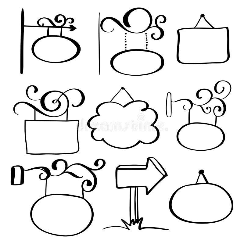 Sistema de letreros a mano del garabato en un fondo blanco libre illustration