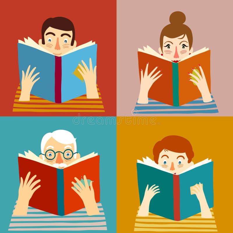 Sistema de libros de lectura de la gente de la historieta ilustración del vector