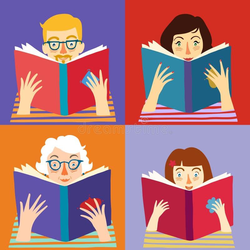 Sistema de libros de lectura de la gente de la historieta stock de ilustración
