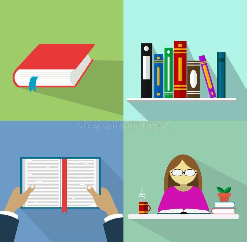 Sistema de libros en el diseño plano, ejemplo del vector ilustración del vector