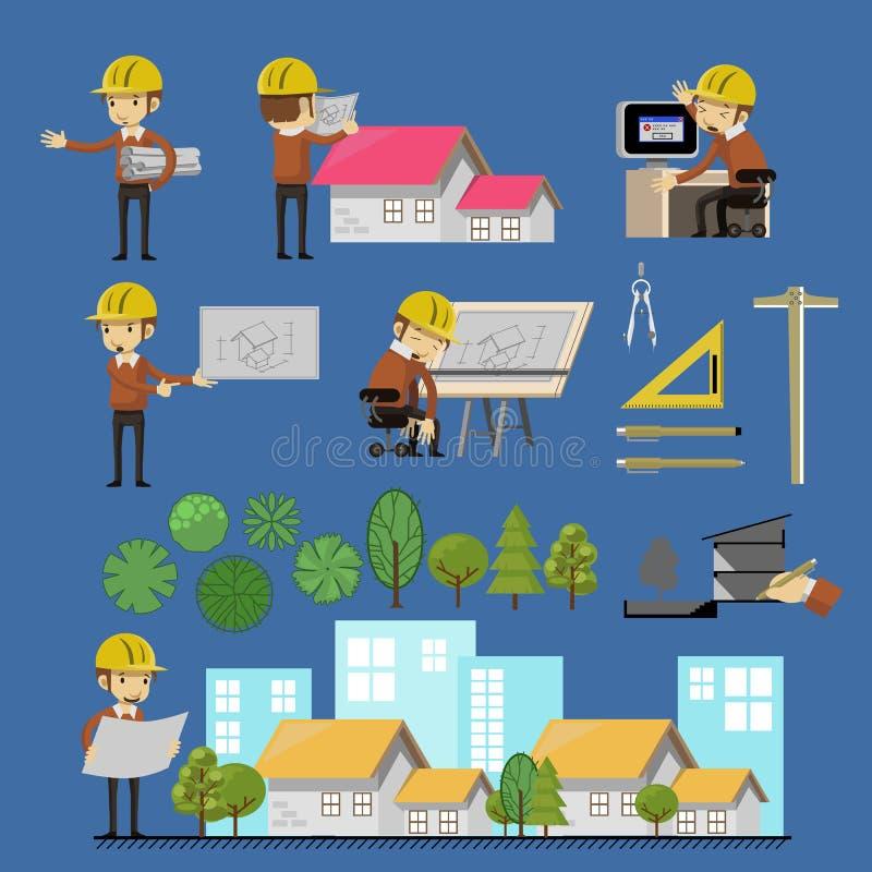 Sistema de Lifestyle Vector del arquitecto libre illustration