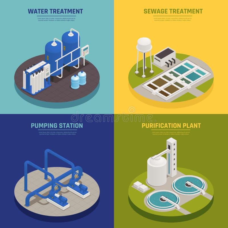 Sistema de limpieza de los iconos del concepto del agua ilustración del vector