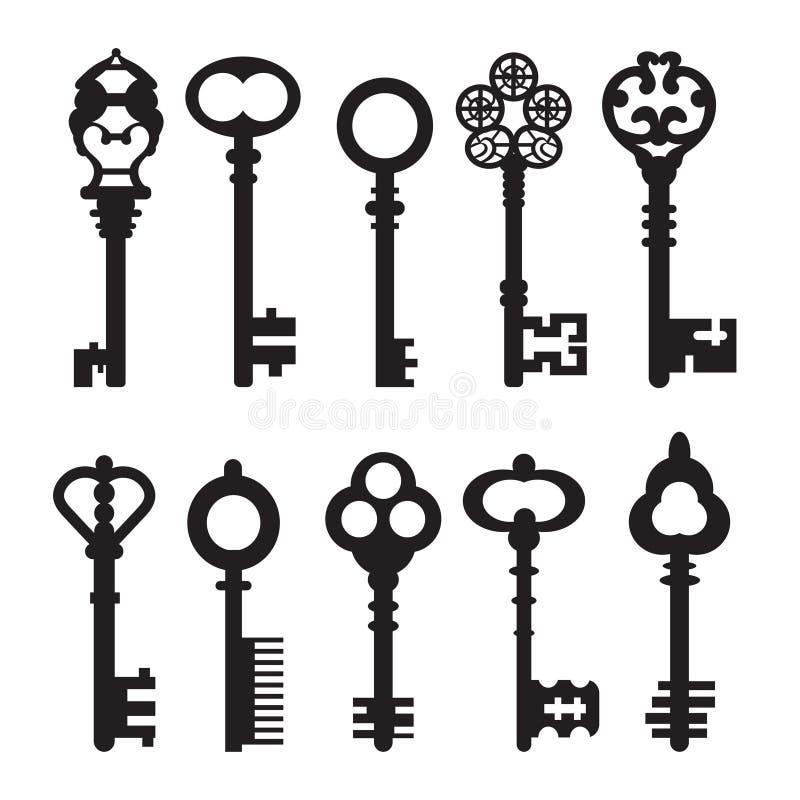 Sistema de llaves retras gráficas aisladas Ilustración del vector stock de ilustración