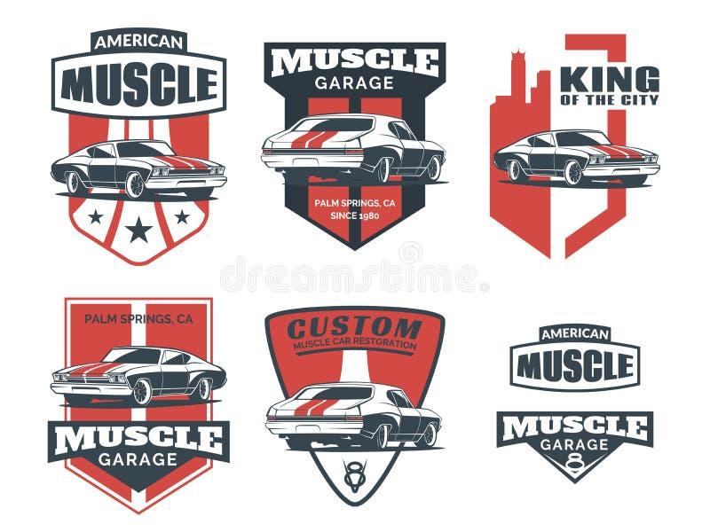 Sistema de logotipo, de emblemas, de insignias y de iconos clásicos del coche del músculo ilustración del vector