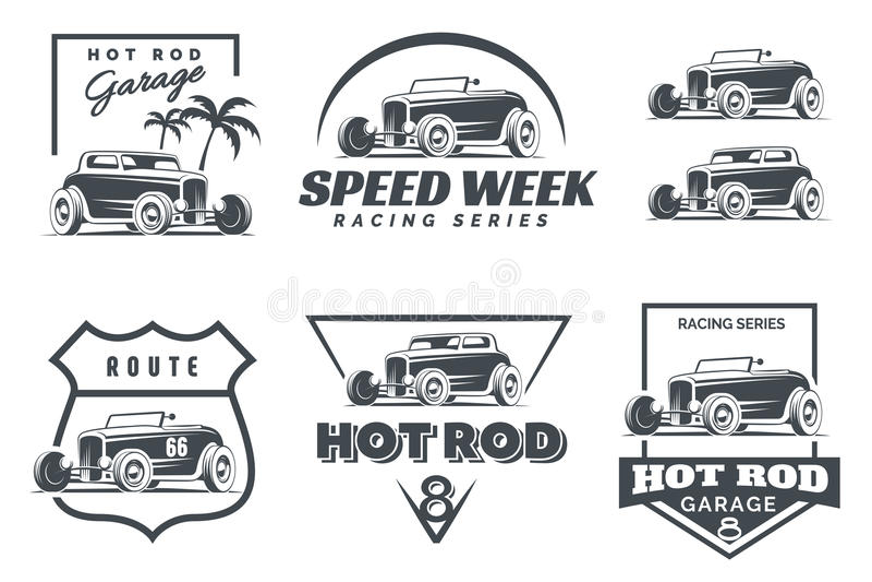 Sistema de logotipo, de emblemas y de iconos del coche de carreras stock de ilustración