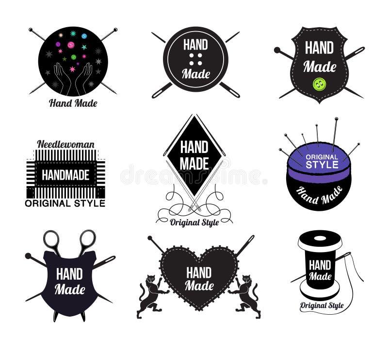 Sistema de logotipo, de etiquetas y de elementos hechos a mano del diseño libre illustration
