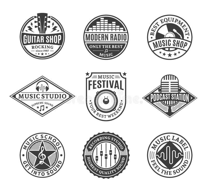 Sistema de logotipo de la música del vector, de iconos y de elementos del diseño libre illustration